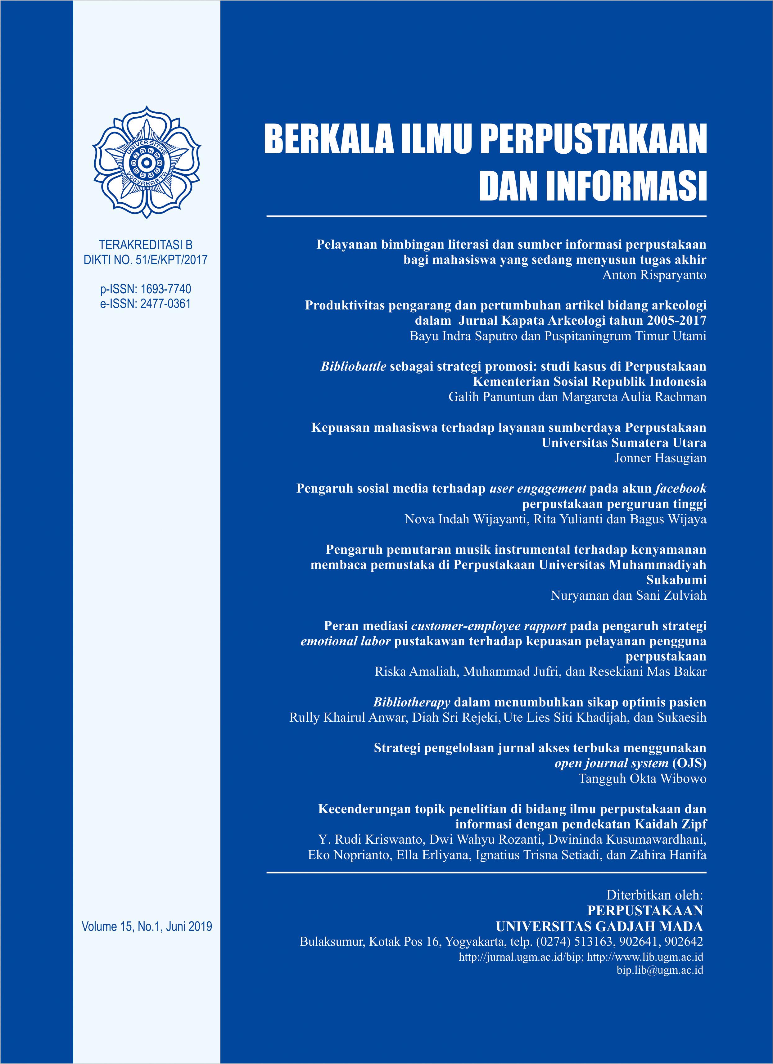Berkala Ilmu Perpustakaan Dan Informasi Rmasi Homepageimage En Us